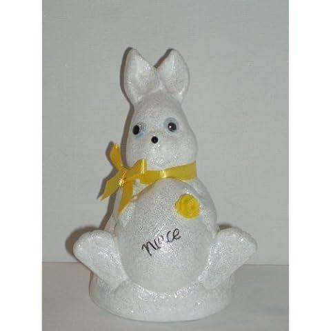 Niece Bianco Coniglio di Pasqua Outdoor commemorativa ornamento (giallo (Easter Bunny Ornamento)
