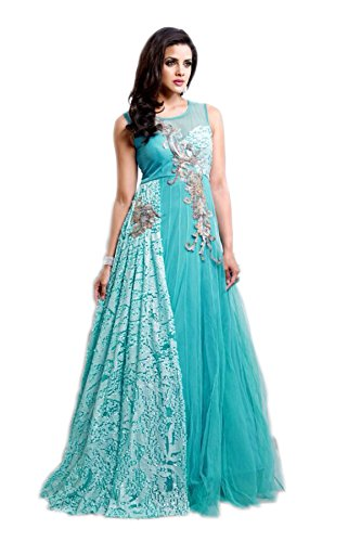 J and J fashion Women's Net Gown - Blue