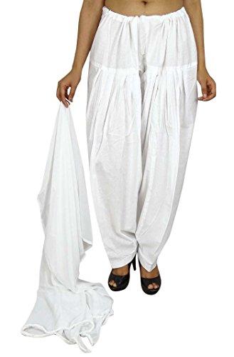 Indianbeautifulart Reiner Baumwolle Verstellbare Plain Salwar mit Chiffon Dupatta damen Kleidung Chiffon Churidar