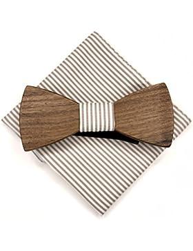 [Garanzia a vita] Papillon in legno fatto a mano tessuto Taupe + fazzoletto da taschino
