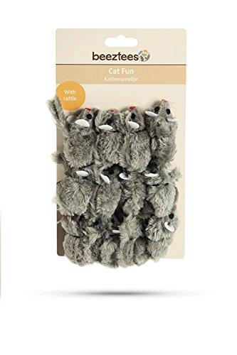 BEEZTEES Spielzeug-Maus für Katzen mit Rassel, 12 Stück, grau
