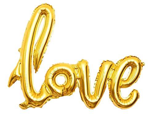 Lukis Love Buchstaben Ballons für Hochzeit Dekoration Folienballon Luftballon 108x65.5cm Gold