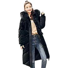 2ed0a81270dfd ELECTRI Doudoune Longue Manteau Femme Zippé Amincissant épais Chaud Col  Fourrure Poche Comfortable Capuche Longue Parka