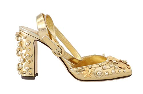 Crystal Studded Sandal (Dolce & Gabbana - Damen Sandalen - Women - Gold Leather Crystal Studded Sandals)