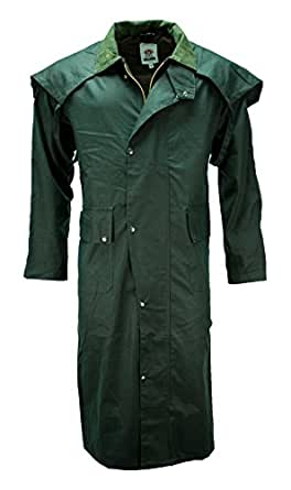 MENS WAX COTTON STOCKMAN LONG CAPE COAT JACKET WATERPROOF BRANDED Fishing Riding Sizes Small to XXL (Small, Olive Green)