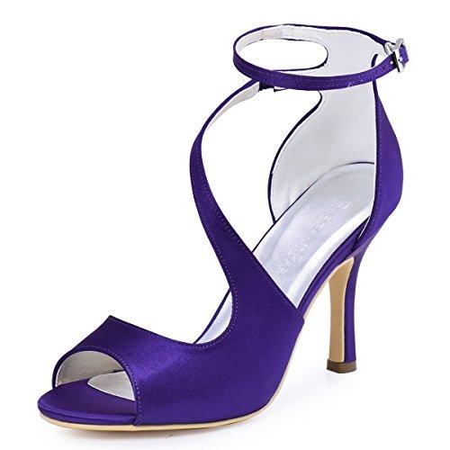 Donna Btide Cinturino Caviglia Prom Da Raso Sandali Toe Elegantpark Viola Hp1505 Sposa In Pompe Alla Diamante Open Y48XxAf