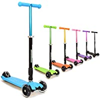 3Style Scooters® - Patinete de Tres Ruedas de tracción Natural RGS-2, niños de a Partir de 5 años, con Luces LED en Las Ruedas, Plegable y Ligero, con Manillar Ajustable, Color Azul