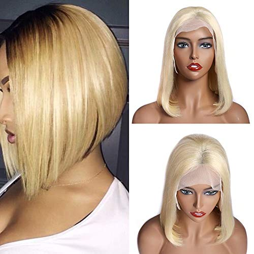 Maxine Short Bob Wig Human Hair 613 Blonde Lace Front Wigs 130% Density Full Brazilian Hair Straight Lace Bob Wigs for Black Women with Adjustable Cap £¨8 inch£©