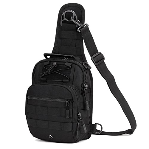 Huntvp Tactical Brusttasche Military Schultertasche Chest Sling Pack Molle Crossbody Bag Unisex Umhängetasche Mini Single Strap Rucksack mit Verstellbar Schultergurt für Reisen Wandern Camping