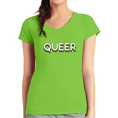 Queer Statement im Disco Design Geschenk CSD Shirt Damen T-Shirt V-Ausschnitt Limettengrün