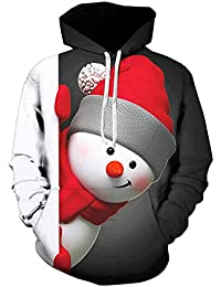 zarupeng Hombres Lindos Hombres de Nieve Traje Patrón Impresión 3D Camisetas de Manga Larga Sudaderas Jerseys Chaquetas Otoño Abrigos de Invierno