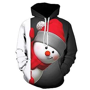Pullover Für Herren,Casual Kapuzenpullover Lange Ärmel Hoodie Outwear Resplend 3D Weihnachten Schneemann Print Kapuzenpulli Sweatshirt Mit Tasche