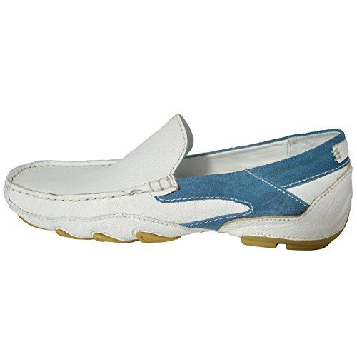 a76de5a062 100 Leder Fahrer Schuhe Herren Neue Mode Halbschuhe Freizeitschuhe Weiß Blau