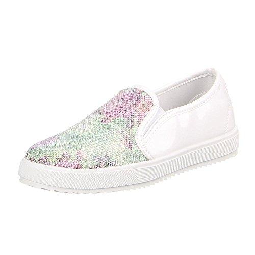 Damen Schuhe, LB930-1, HALBSCHUHE SLIPPER Weiß Grün W-63-
