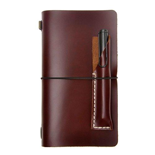 Zlyc, diario stile vintage fatto a mano, agenda in pelle, ricaricabile, con porta penne Brown