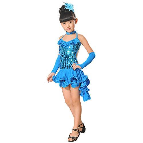 Lonshell Teenager Mädchen Tanzkleid 4-teiliges Set Tanz Kostüm mit Leggings Halskette Kopfschmuck 2-13 Jahre Kinder Performance Verschleiß für Lateinisches Salsa Tango ()