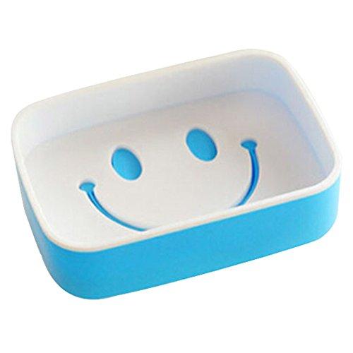 hestiouk Smiley Seifenkiste Decor Doppel Creative Badezimmer Seifenhalter Form Doppel Ablauf blau (Seifenschale Badewanne Form)