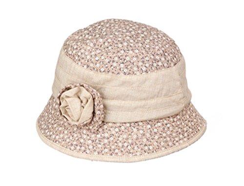 TGLOE Femelle Dernier Désinvolte Soleil Bob Frais Charmant Floral Coton De Plein Air Pêcheur Pots Bob Kaki