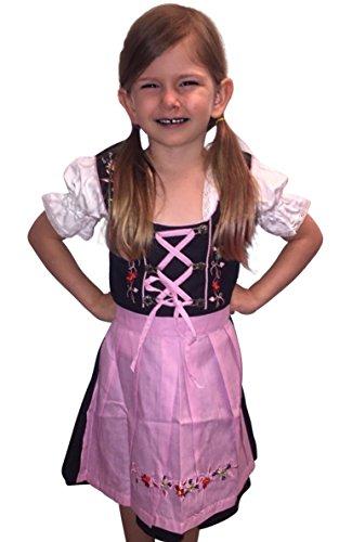 Dik01-07 Dirndl für Kinder, 3 Teiliges Trachtenkleid in Versch. Farben, Kleid mit Bluse und Blauer Schürze...