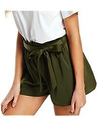 Damen Shorts Sommer LHWY Frauen Casual Kurz Hosen Elegant Belt Lose Pants  Lady Teen Mädchen Atmungsaktiv Beach Mini Shorts High Waist… 66c11e302e