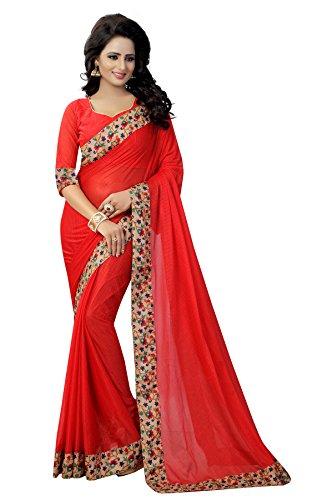 RadadiyaTRD Cotton Silk Saree With Blouse Piece (Laycra Red Rossss_Red_Free Size)