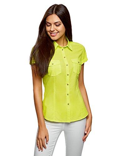Oodji ultra donna camicia basic con maniche corte, verde, it 42/eu 38/s