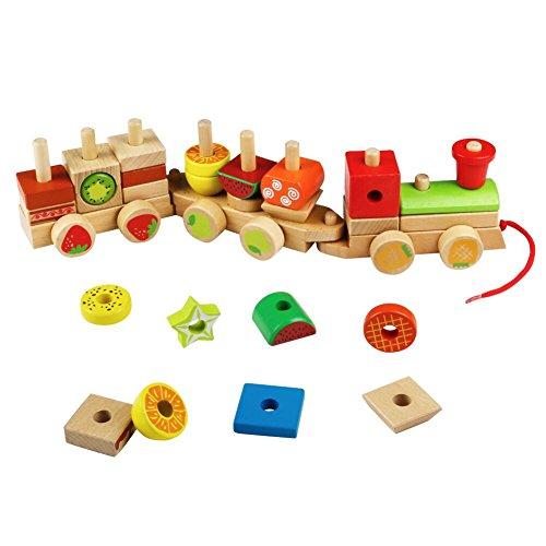 Holz Stapeln Blöcke Zug Auto Bausteine Set Geometrische Anschluss Konstruktion Spielzeug für Kinder Kinder Alter 3 4 5 Jahren