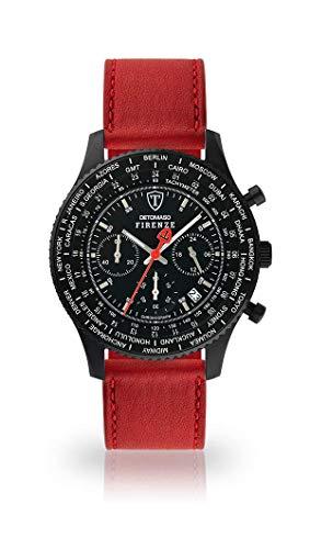 DETOMASO FIRENZE Uomo Orologio Cronografo Analogico Quarzo cinturino in pelle rosso scuro quadrante nero SL1624C-BK1-824