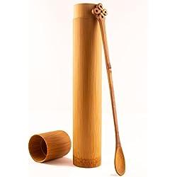 Sabishi Mo MATCHA LÖFFEL aus Edelbambus mit Bambuscase – Premium Bambuslöffel (ca. 18cm lang) - ähnelt einem Chashaku (Traditioneller Dosierlöffel) … (Gravur)