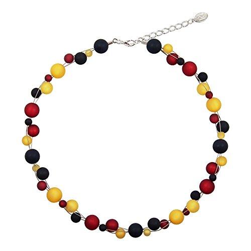 perla pd design Halskette aus echten Polarisperlen Deutschland Weltmeister PK1238 ca. 45 cm + 45 cm schwarz rot gelb