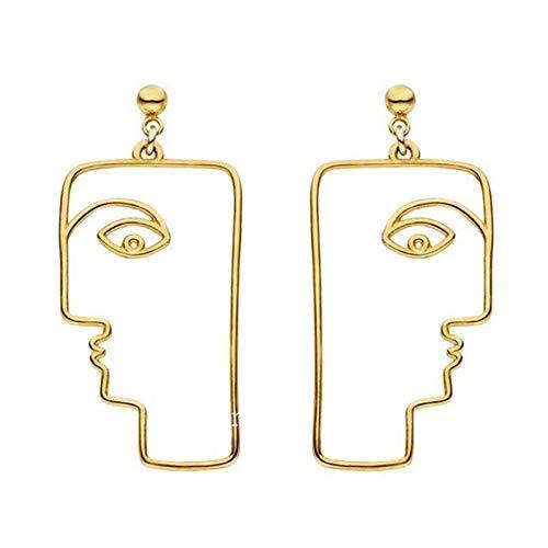 AILOVEIA Legierung Gold/Silber Gefüllt Rechteck Gesicht Baumeln Ohrringe Für Frauen