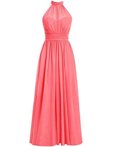 One Shoulder Silk Gown (HUINI Damen Modern Kleid Gr. 38, korallenrot)
