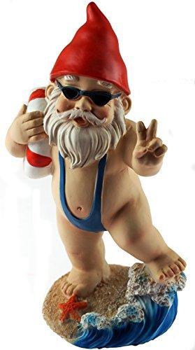KT mit groß 21cm Funny Gnome Garden Ornament–Mankini/Life Ring Design