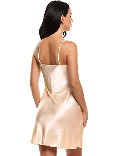 cooshional Damen Schlafkleid Ärmellos Pyjamas V-Ausschnitt Sexy Nachtkleid Aprikose