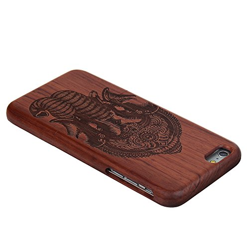 Coque iPhone 6/6s Anti Choc Case en Bois Naturel Forepin® Réel Etui Couvert et Housse en Wood Dur dans Motif de Sculpté élégante Protecteur pour iPhone 6/6s (Aigle) Éléphant