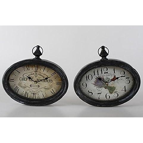 TxT Reloj de pared ovalado, diseño con números mezclados con Perchero de metal, color blanco envejecido 28 x 26 x 7