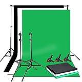 Fondale Fotografico Kit con Sfondo Supporto/Background Sfondi Di 1.6x3m Tessuto non tessuto Nero e Bianco/Borsa/Verde per il trasporto per Studio Fotografico Professionale