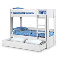 Happy Beds Wooden Bunk Bed with Underbed Storage Drawer, Ellie White Wood Modern Twin Sleeper - 3ft Single (90 x 190 cm) Frame Only