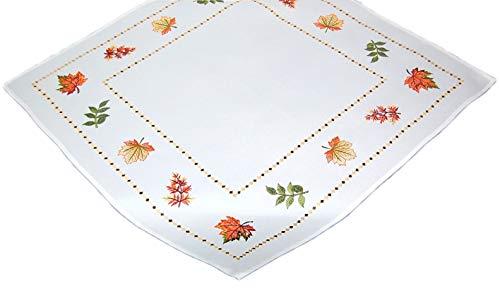 (Farbenfrohe Tischdecke Decke Weiß Blätter Bunt Gestickt Herbstdecke Pflegeleicht Deko Halloween Herbst (Mitteldecke 85x85 cm))