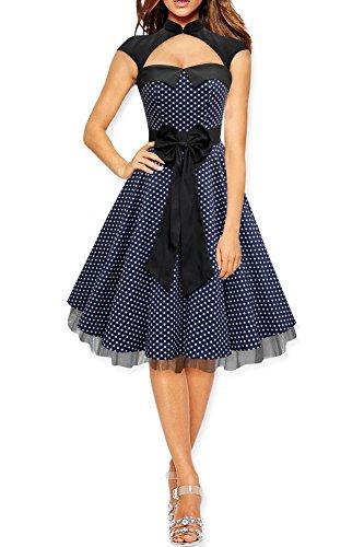 BlackButterfly 'Athena' Polka-Dots Kleid mit großer Schleife (Nachtblau, EUR 38 - S) (Rock Falten Polka Dots)