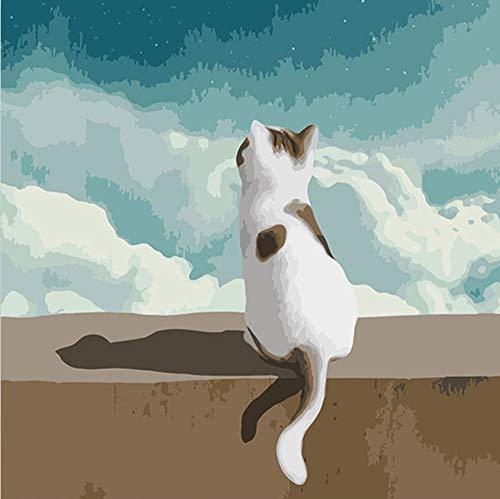 Tierarzt Cat Digitales Ölgemälde Färbung Zahlen Bilder Nach Zahlen Auf Leinwand Mit Farben Für Kinder Prac ()