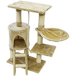 Todeco - Arbre à Chat, Perchoir pour Chat - Matériau: MDF - Dimensions de la Maison à Chat: 30,0 x 33,0 x 33,0 cm - 90 cm, 4 Plateformes, Beige
