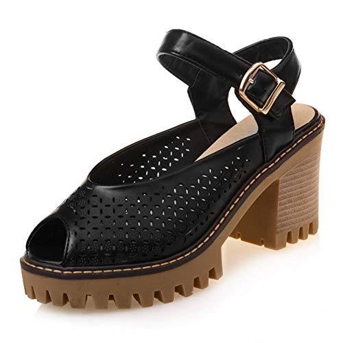 TXHLKD Street Hohlpumps Damen Damen Peep Toe High Heels Sommer Pumps Damen Damen Schuhe Damen 34-43 4 Schwarz Black Super Street Boot