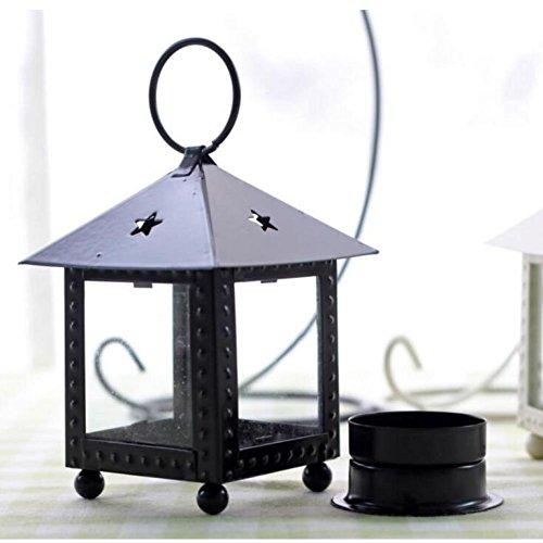 CDELEC 1PC Kerzenständer Laterne, die alte Weisen Hurrikan-Lampe romantische Hochzeits-Dekoration wieder herstellt (Schwarz) (Hurrikan-lampen Für Kerzen)