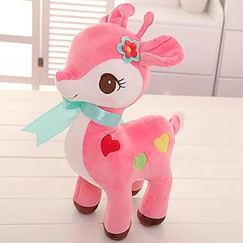 Gloveleya Weichen Plüsch Stofftier Hirsch Puppen-Baby Spielzeug 12 Zoll (Rosa)