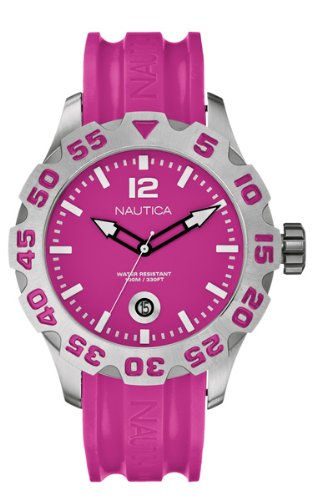 Nautica Ladies Watch A14607G With Pink Dial and Pink Resin Strap