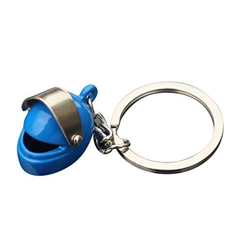 Saingace Schlüsselanhänger Keychain Kreativer Motorrad-Fahrrad-Sturzhelm-Schlüsselring Ring Keychain Schlüsselring-Schlüsselloch (Blau)