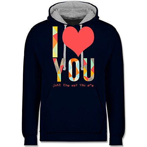 Romantisch - I love you just the way you are - Kontrast Hoodie Dunkelblau/Grau meliert