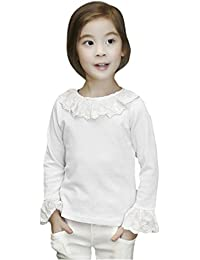0cd2eea22 Covermason Niña Casual Manga Larga Encaje Blusa Moda Camisas Tops (5-6Años
