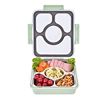 U HOME Large Bento Box with Removable Stainless Steel Tray - Adults Size Leakproof Bento Lunch Box with 4 Compartments (green)